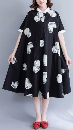 boutique-black-prints-pure-cotton-dress-oversize-cotton-clothing-dresses-Fine-big-hem-lapel-collar-cotton-shirt-dress2