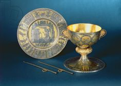 Communion Cup, Plate and Fistulae of the Cathedral Chapter of Wilten of cast silver, engraved and partly gilt niello, Innsbruck, 1160-70 (si...
