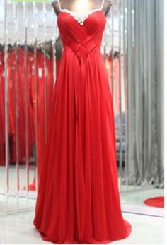 Chiffon A-line Long Red Prom/Cocktail/ Formal Evening /Homecoming/ Bridesmaid/ Wedding Party/Milirary Ball/Quinceanera Dresses For Women via Etsy