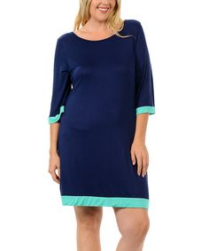 Celeste Navy & Mint Contrast A-Line Dress - Plus | zulily