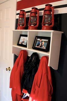 sweet little nautical boys room; maybe add some footballs on top instead of lanterns?
