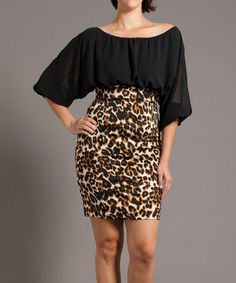 Take a look at this Black & Tan Leopard Sheer Elegance Dress - Plus by Symphony on #zulily today!