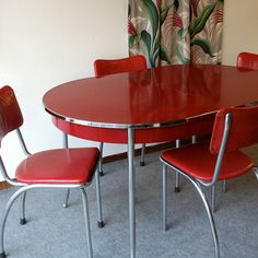 Items similar to Vintage Red Retro Table and Chairs on Etsy. , via Etsy.