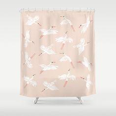 Crane Dance Bathroom Shower Curtain by Megan Galante - by Crane Dance, Bathroom Shower Curtains, Beautiful Bathrooms, Berkeley Bowl, Pattern Illustration, Hooks, Stuff To Buy, Fresh, Usa