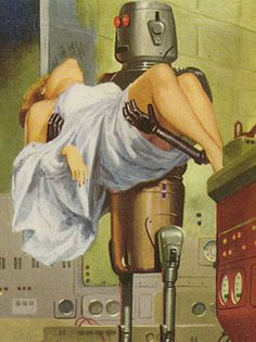 """Dedicated to all things """"geek retro:"""" the science fiction/fantasy/horror fandom of the past including pin up art, novel covers, pulp magazines, and comics. Vintage Robots, Retro Robot, Science Fiction Art, Pulp Fiction, Classic Sci Fi, Aliens And Ufos, Pulp Art, Retro Art, Sci Fi Art"""