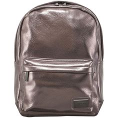 Pantone Mini PU Backpack - Pewter (195.440 COP) ❤ liked on Polyvore featuring bags, backpacks, metallic, backpacks bags, strap backpack, day pack backpack, mini zip bags and mini rucksack