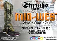 """Trendy Fashion Style Women's Clothing Online Shopping - SHOP NOW !         STATUHS DENIM showing SEPTEMBER 12TH & 13TH LIVE @ THE MIDWEST STREET SCENE SHOW - HOLIDAY INN SKOKIE, IL. BOOK YOUR APPOINTMENT TODAY. REMEMBER ... EVERYBODY HAS SWAG, BUT """"STATUHS"""" IS QUITE DIFFERENT…"""