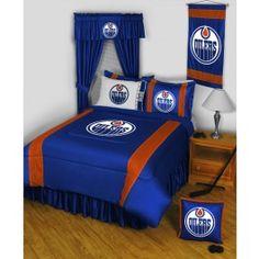 Edmonton Oilers NHL 11pc Sidelines Full Comforter/Sheets Deluxe Bed Room Set