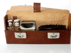 Vintage French leather mens washbag (companion) - excellent condition on Etsy, $25.00