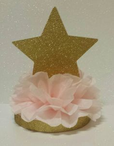 Twinkle Twinkle little star pink gold birthday party or baby shower centerpiece table decor princess or ballerina decoration