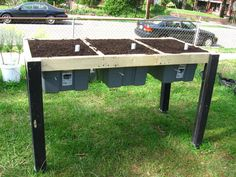 Make a self watering gardening table for all of your summer greens!