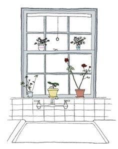 Plants on a Sill print. Kitchen Window Art. by sloeginfizz on Etsy, $35.00