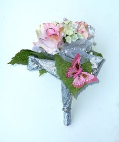 Silk flowers wedding bouguet Pink butterfly by wandadesign on Etsy, €45.00