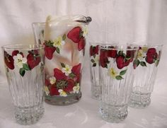 Pitcher and glass set hand painted with by Morningglories1 on Etsy, $60.00