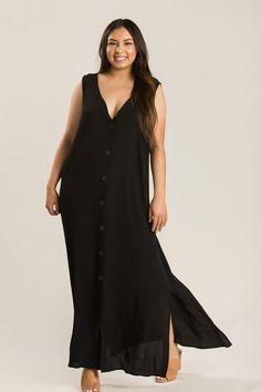 3ef9accdad3 Plus Maddie Black Button Maxi Dress. Morning Lavender