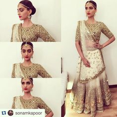 """The gorgeous Sonam Kapoor in a customised ivory and gold mirror and sequin Lahenga for her performance at the Stardust Awards for the very first time!…"""