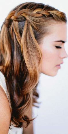 waterfall braid with curls for the bridesmaids?