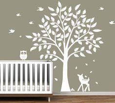 Nursery Tree Decal - Vinyl Wall Decals - nursery decals with Butterflies,TREE , birds & fawn