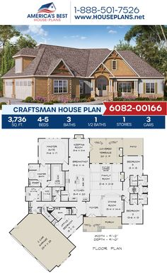 Looking for a great Lake house option? Plan 6082-00166 delivers 3,736 sq. ft., 4-5 bedrooms, 3.5 bathrooms, a keeping room, an open floor plan, a bonus room, and a home office. #craftsmanhome #lakehouse #onestoryhome #architecture #houseplans #housedesign #homedesign #homedesigns #architecturalplans #newconstruction #floorplans #dreamhome #dreamhouseplans #abhouseplans #besthouseplans #newhome #newhouse #homesweethome #buildingahome #buildahome #residentialplans #residentialhome
