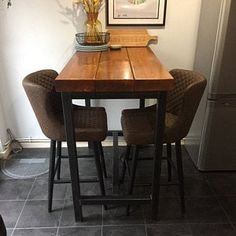 Reclaimed Industrial Chic Dining Table Bar Cafe Restaurant   Etsy Grey Ikea Kitchen, Rustic Kitchen, Wood And Metal, Solid Wood, Metal Box, Oak Wood Stain, Pine Timber, Oak Color, Cafe Restaurant