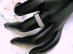 Peyote Ring in Silver and Black Seed Bead Ring by MadeByKatarina