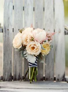 REVEL: Bouquet with Navy Striped Ribbon