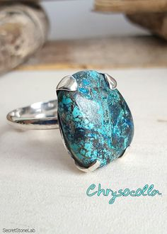 Ring Crysocolla Cabochon Gemstone Ring Size 5 Sterling Silver 8 Grams Rings Band With Stone Gifts for Women Boho Hippie Jewelry Sale .925