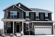 dark gray home shakes white trim - Google Search