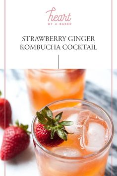 Click through to find out how to make this Strawberry Ginger Kombucha Cocktail! Easy Alcoholic Drinks, Drinks Alcohol Recipes, Yummy Drinks, Vegan Party Food, Party Food And Drinks, Fun Cocktails, Cocktail Recipes, Kombucha Cocktail, Healty Dinner
