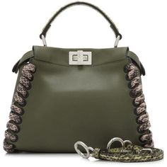 Pre-owned Fendi Mini Peekaboo ($3,390) ❤ liked on Polyvore featuring bags, handbags, green, miniature purse, preowned handbags, leather handbags, mini leather handbags and real leather handbags