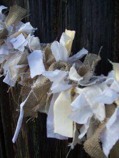 Rag Garland Rustic Wedding Decor Fabric Garland Rag Linen Swag Burlap  Mantle Garland  French Country Farmhouse Decor Christmas