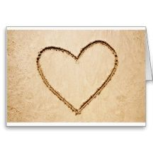 Heart on the beach greeting card