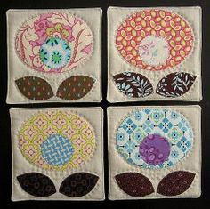 Pop Flower Quilted Coasters and other quick quilted coasters tutorials