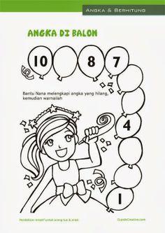 belajar sambil bermain untuk anak TK/balita, menghitung angka 1-10, mewarnai gambar balon