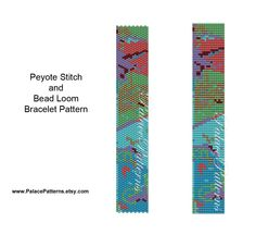 Beadweaving Bracelet Pattern - Loom and Peyote Stitch Bracelet Pattern - Abstract Coloring by PalacePatterns on Etsy