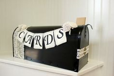 Black Ivory Champagne and White Card Holder Wedding