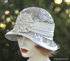 1920s Hat, Elegant Hat, Gala Event Hat, Evening Hat, Hat with Sequins, Hat with Rhinestones, Party Hat in Silver Sequins and Rhinestones by GailsHats on Etsy https://www.etsy.com/listing/199145388/1920s-hat-elegant-hat-gala-event-hat