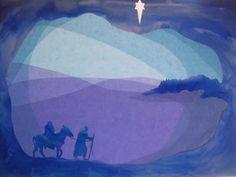Handgemachte Foto-Grußkarte mit Umschlag. Foto ist von einer ursprünglichen Fensterbild  von Maria und Josef auf ihrer Reise nach Bethlehem mit dem Esel. Das beigefügte Foto zeigt nur das Design,...