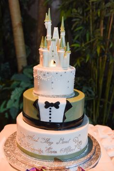 Beautiful Cinderella Tuxedo Cake with details for both the bride and the groom
