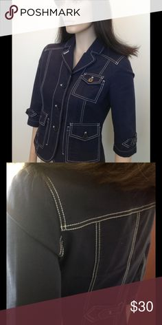 Ann Taylor Loft navy cotton casual jacket The perfect jacket to dress up a pair of jeans on casual work day.  Timeless style! Ann Taylor Loft Jackets & Coats Blazers