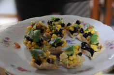 Southwestern salad on scoops tortilla chips, next one made in pastry shells which held up better