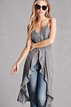 A woven top featuring an allover striped print, a high-low hem with ruffles, a button front, adjustable cami straps, and a V-neckline. This is an independent brand and not a Forever 21 branded item.