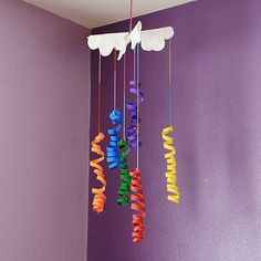 Coiled Cardboard Tube Rainbow Mobile by @Amanda Formaro Crafts by Amanda