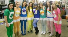 Halloween costumes: carebears.  Leggings and t-shirts ordered online, duck tape, permanent markers to make design