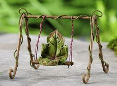 Fairy Swing, Miniature Swing, Mini Metal Swing, Miniature Furniture for Fairy Swing, Fairy Garden decor, Terrariums, Miniature Gardens,