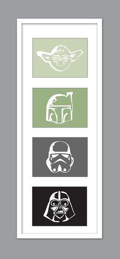 4 Star Wars-Charakter-Silhouetten für von DesignCreatives auf Etsy