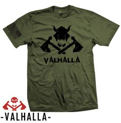 Valhalla Soldier Creed T-Shirt 100% American Made 100% Cotton T-Shirt, American Flag on right Sleeve, Soft cotton feel unisex fit