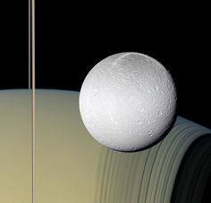 Saturn's moon Dione captured by Cassini while orbiting Saturn.