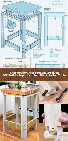 FREE DIY: Poplar Kitchen Workstation Table - http://www.rockler.com/how-to/build-poplar-kitchen-workstation-table/