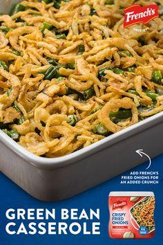 Greenbean Casserole Recipe, Casserole Recipes, Egg Casserole, Thanksgiving Side Dishes, Thanksgiving Recipes, Thanksgiving Green Bean Casserole, Thanksgiving 2020, Veggie Dishes, Food Dishes